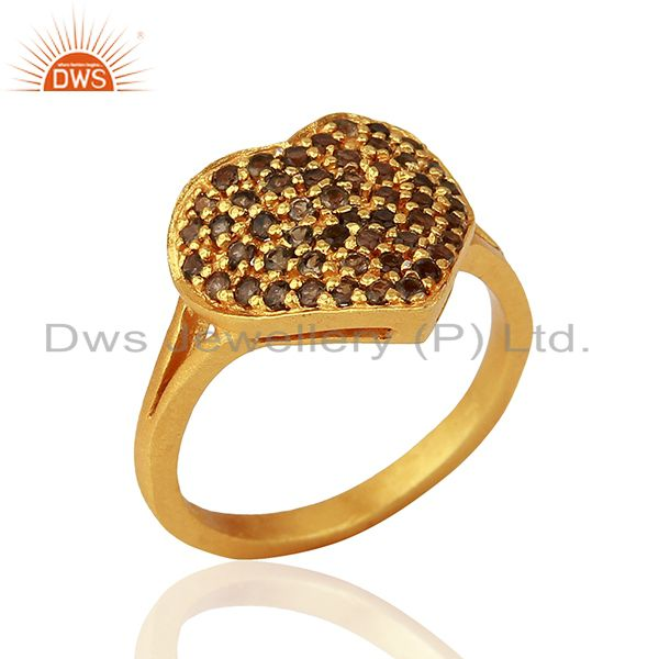 18K Yellow Gold Plated Sterling Silver Smokey Quartz Heart Shape Ring