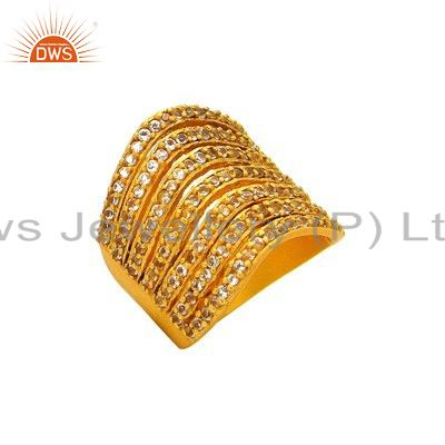 925 Sterling Silver White Topaz Gemstone Dome Ring With Yellow Gold Plated