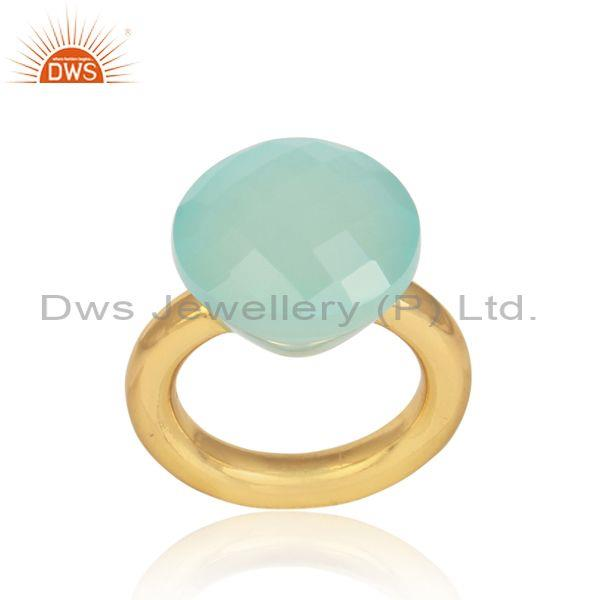 Aqua Chalcedony Set Handmade Gold On Sterling Silver Ring