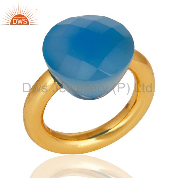 18K Yellow Gold Plated Faceted Blue Chalcedony Sterling Silver Ring