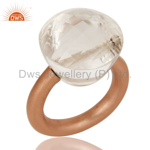 18K Rose Gold Plated Sterling Silver Crystal Quartz Stackable Ring