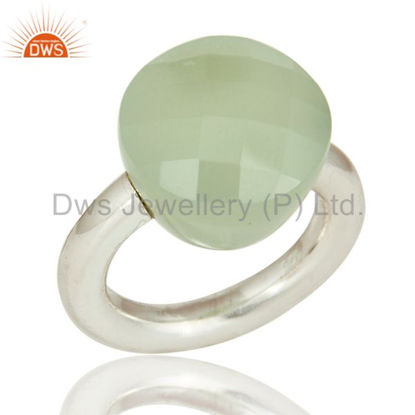 Faceted Green Chalcedony Gemstone Sterling Silver Ring