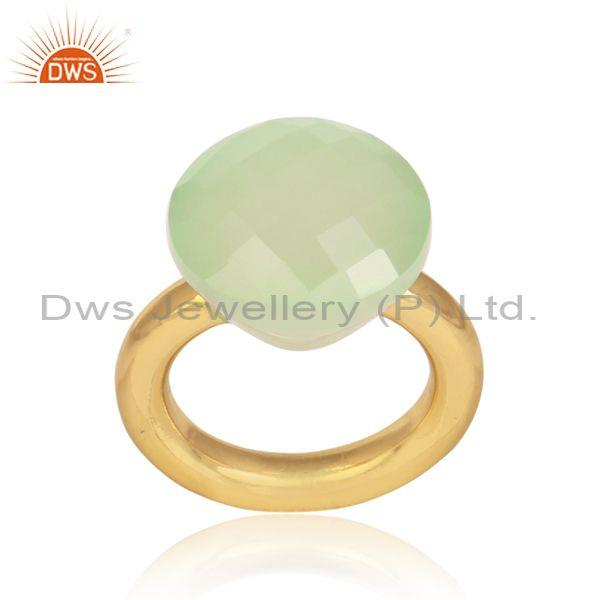 Prehnite Chalcedony Set Handmade Gold On 925 Silver Ring