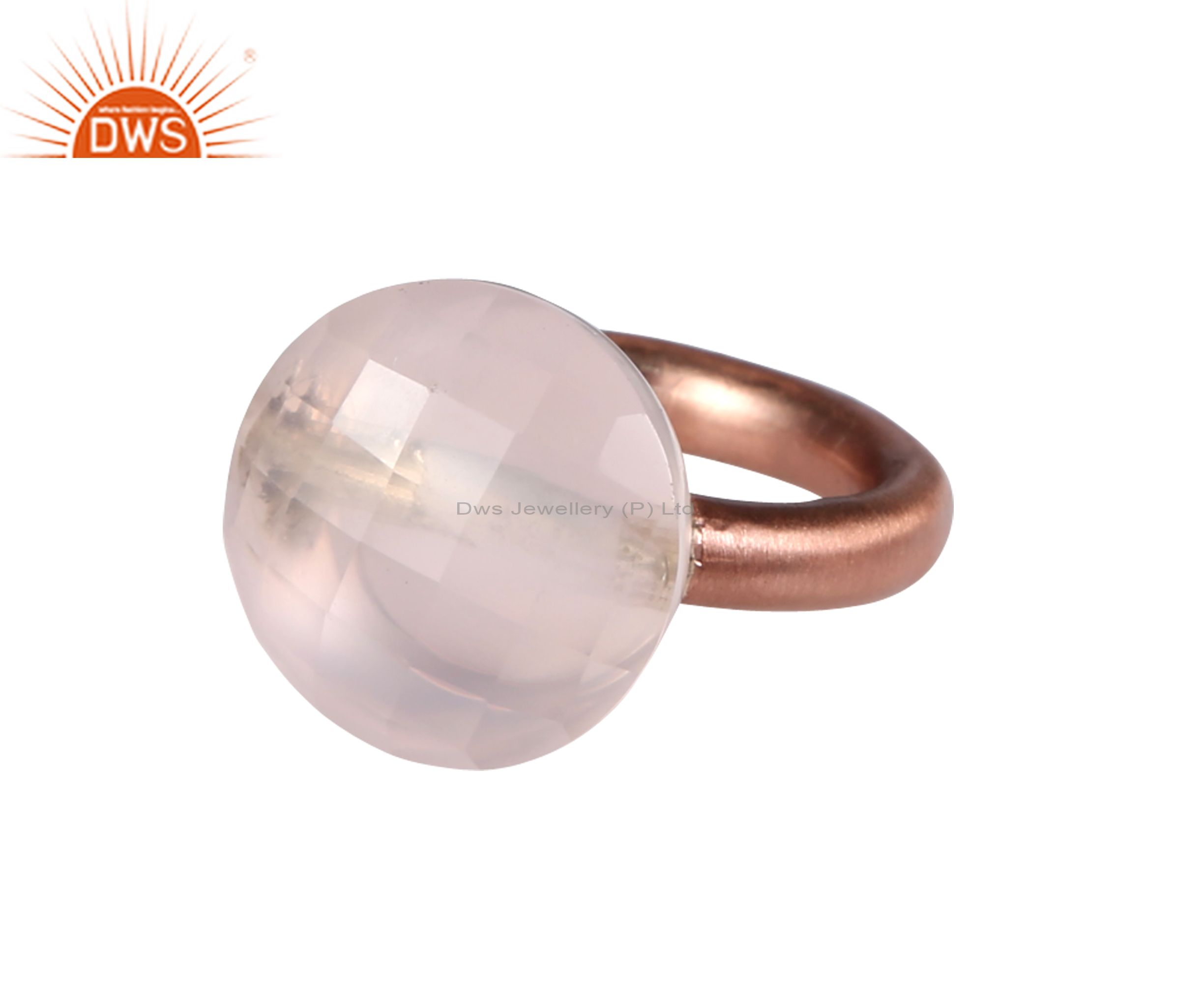 18K Rose Gold Plated Sterling Silver Faceted Rose Chalcedony Stack Ring
