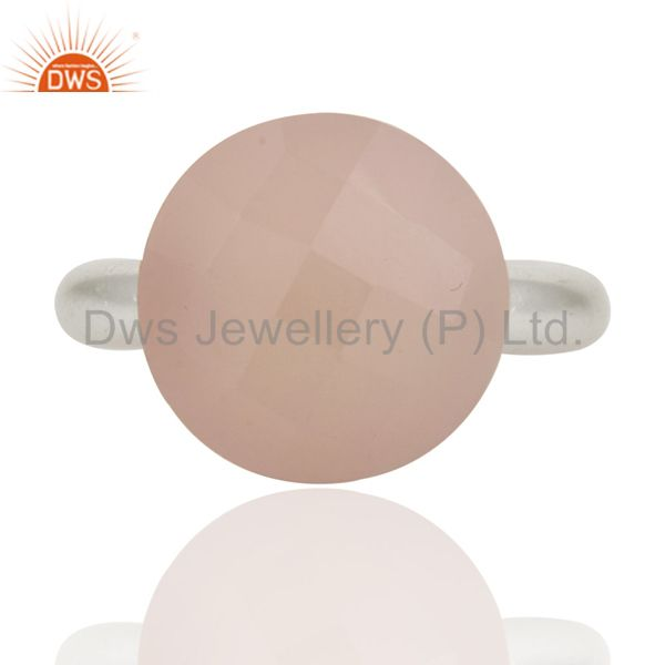 Solid 925 Sterling Silver Rose Chalcedony Semi-Precious Stone Stackable Ring