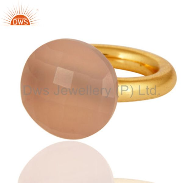 Faceted Rose Chalcedony 18K Yellow Gold Plated Sterling Silver Stackable Ring
