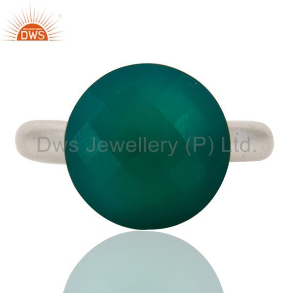 925 Sterling Silver Green Onyx Gemstone Sterling Silver Stacking Ring