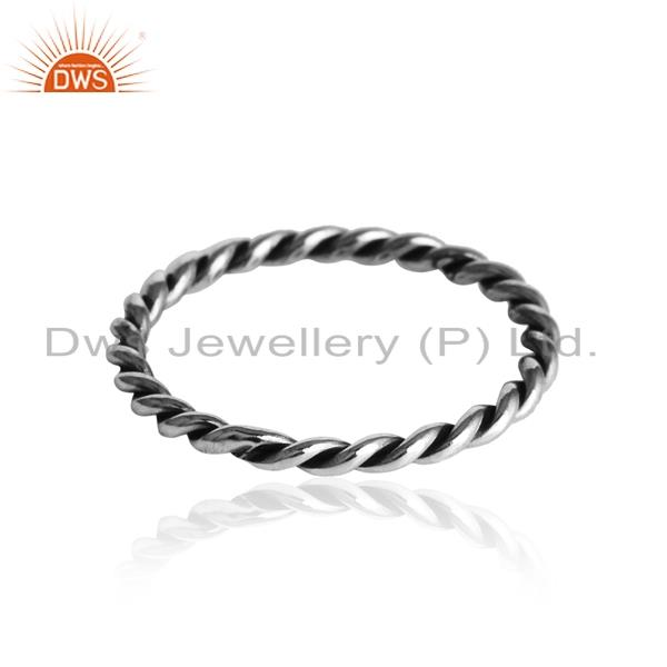 Dainty twisted band ring in oxidized solid silver