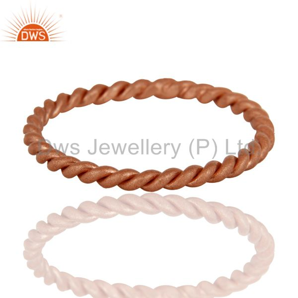 18K Rose Gold Plated Sterling Silver Twisted Wire Stackable Ring
