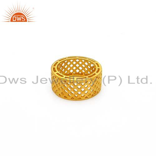 22K Yellow Gold Plated Sterling Silver Filigree Designer Wedding Band Ring
