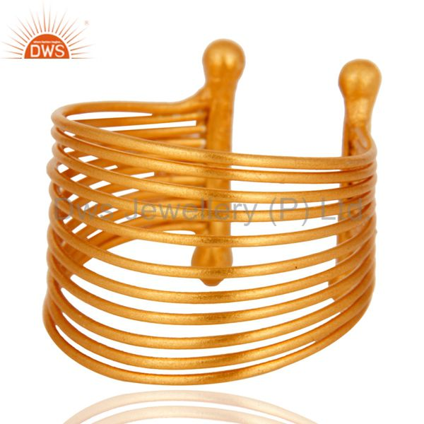 18K Yellow Gold Plated Sterling Silver Wire Adjustable Dome Ring