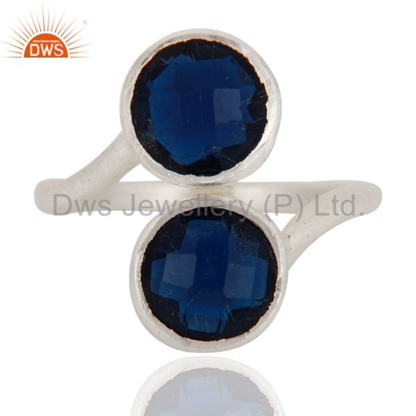 925 Sterling Silver Blue Corundum Gemstone Stackable Ring