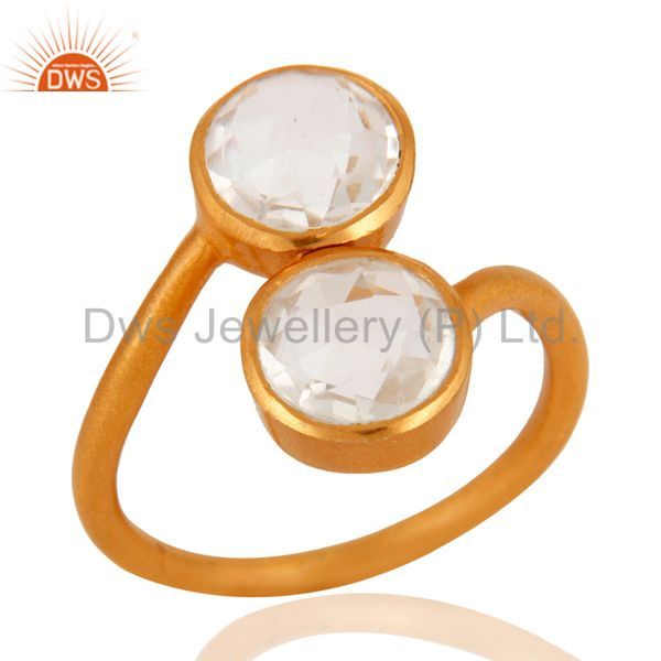 18K Yellow Gold Plated Sterling Silver Crystal Quartz Stacking Ring