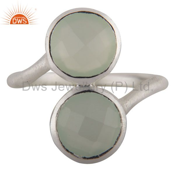 925 Sterling Silver Green Chalcedony Faceted Gemstone Stack Ring