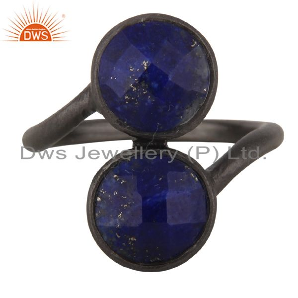 Oxidized Sterling Silver Natural Lapis Lazuli Gemstone Statement Ring