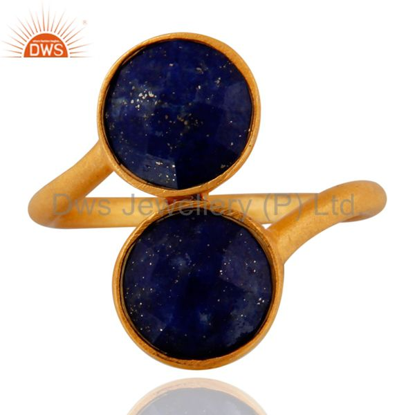 18K Yellow Gold Plated Sterling Silver Natural Lapis Lazuli Gemstone Ring