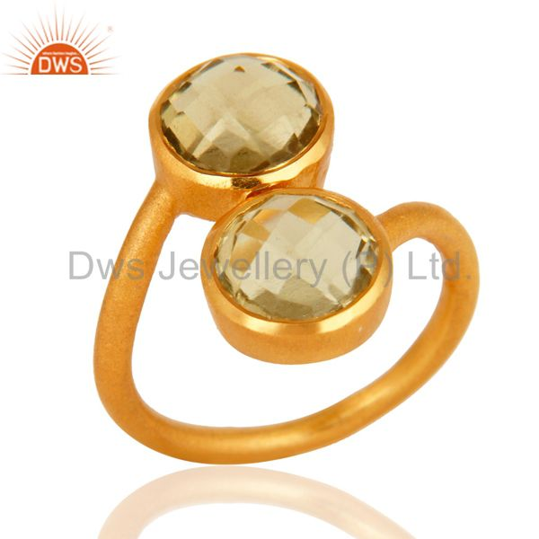 18K Yellow Gold Plated Sterling Silver Lemon Topaz Matte Finish Ring