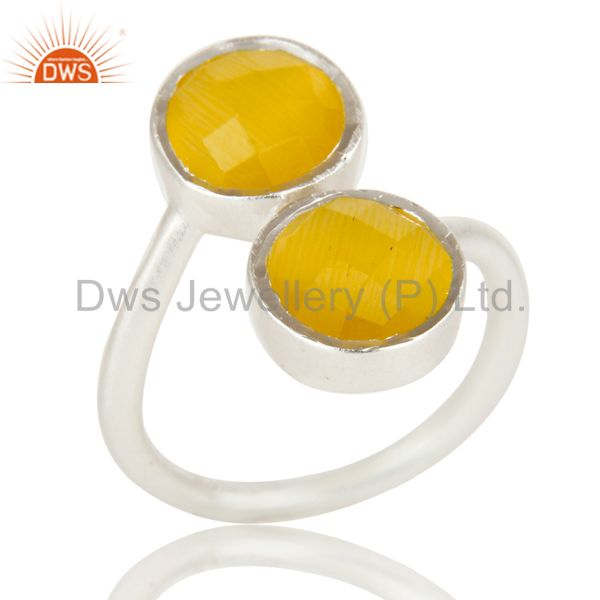 Solid Sterling Silver Yellow Moonstone Two Gemstone Stackable Ring