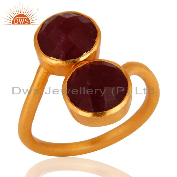 18K Yellow Gold Plated Sterling Silver Dyed Ruby Gemstone Ring