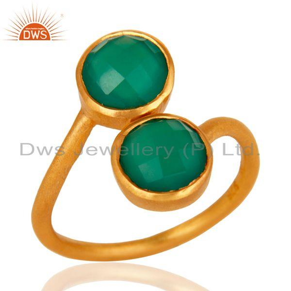 18K Yellow Gold Over Sterling Silver Green Onyx Gemstone Stacking Ring
