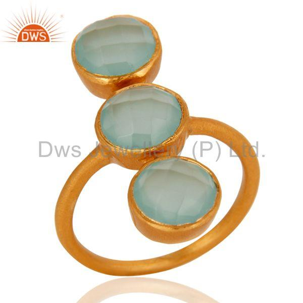 18K Yellow Gold Over Sterling Silver Aqua Chalcedony Glass Gemstone Ring