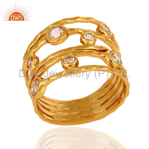 9K Solid Yellow Gold White Topaz Gemstone Hammered Wide Ring