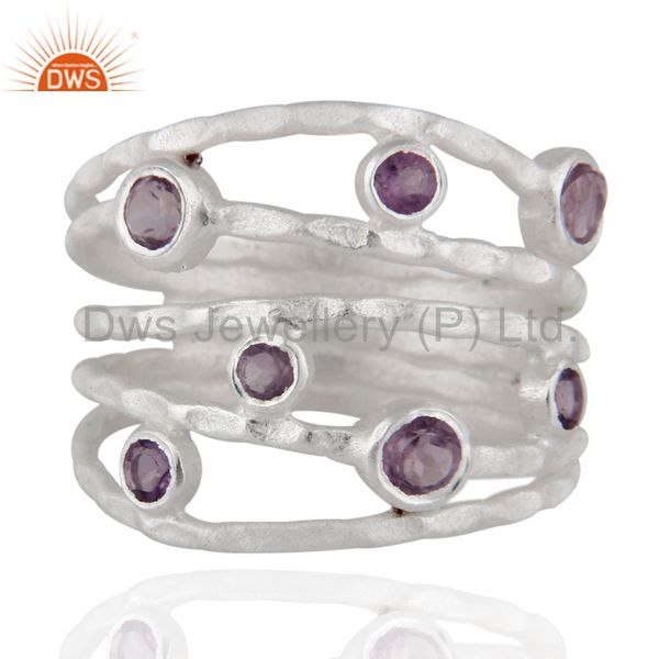 Solid 925 Sterling Silver Amethyst Gemstone Textured Design Ring