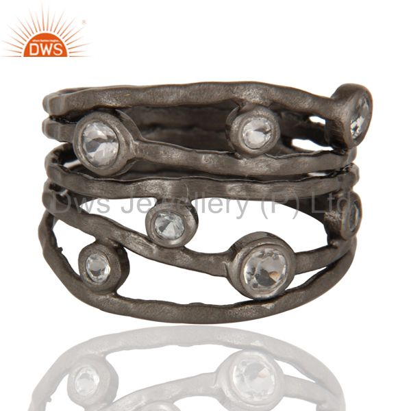 Hammered oxidized silver white topaz stack multi bands ring