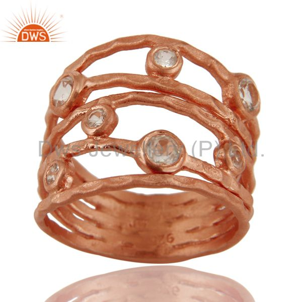 18K Rose Gold Plated Sterling Silver White Topaz Hammered Multi Band Ring