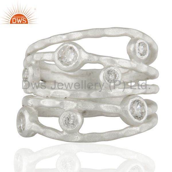 Solid 925 Sterling Silver White Cubic Zirconia Party Wear Fashion Ring