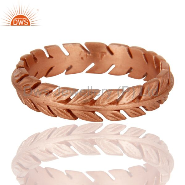 18-Carat Rose Gold On Sterling Silver Leaf Feather Engagement Wedding Band Ring
