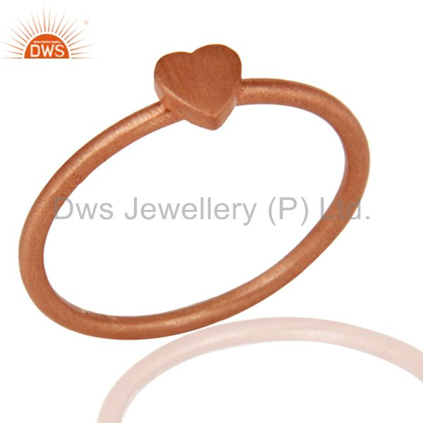 18K Rose Gold Plated Sterling Silver Heart Engagement Ring