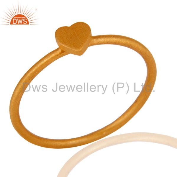18K Yellow Gold Over Sterling Silver Heart Design Engagement Ring
