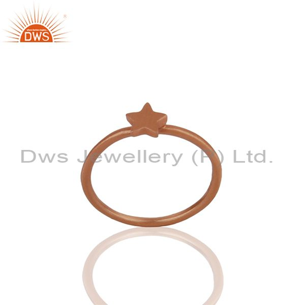 Rose Gold Plated 925 Silver Star Charm Stackable Rings Manufacturers