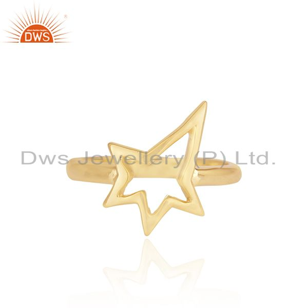 18K Yellow Gold Plated Sterling Silver Open Star Ring