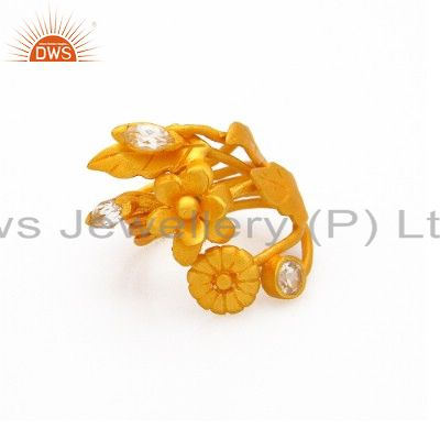 18K Yellow Gold Plated Sterling Silver White Topaz Floral Design Statement Ring