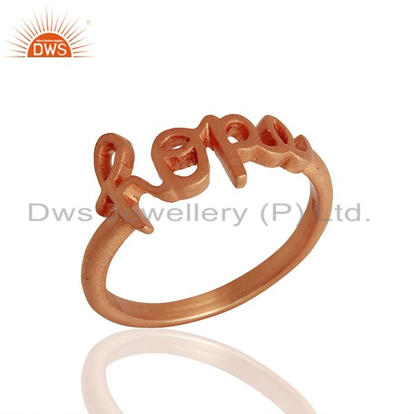 18K Rose Gold Plated Solid Sterling Silver Cursive Style Font