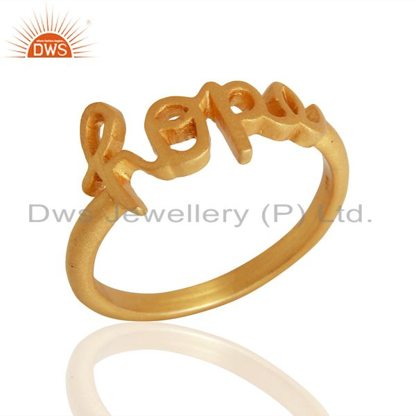 18K Yellow Gold Plated Sterling Silver Cursive Style Font