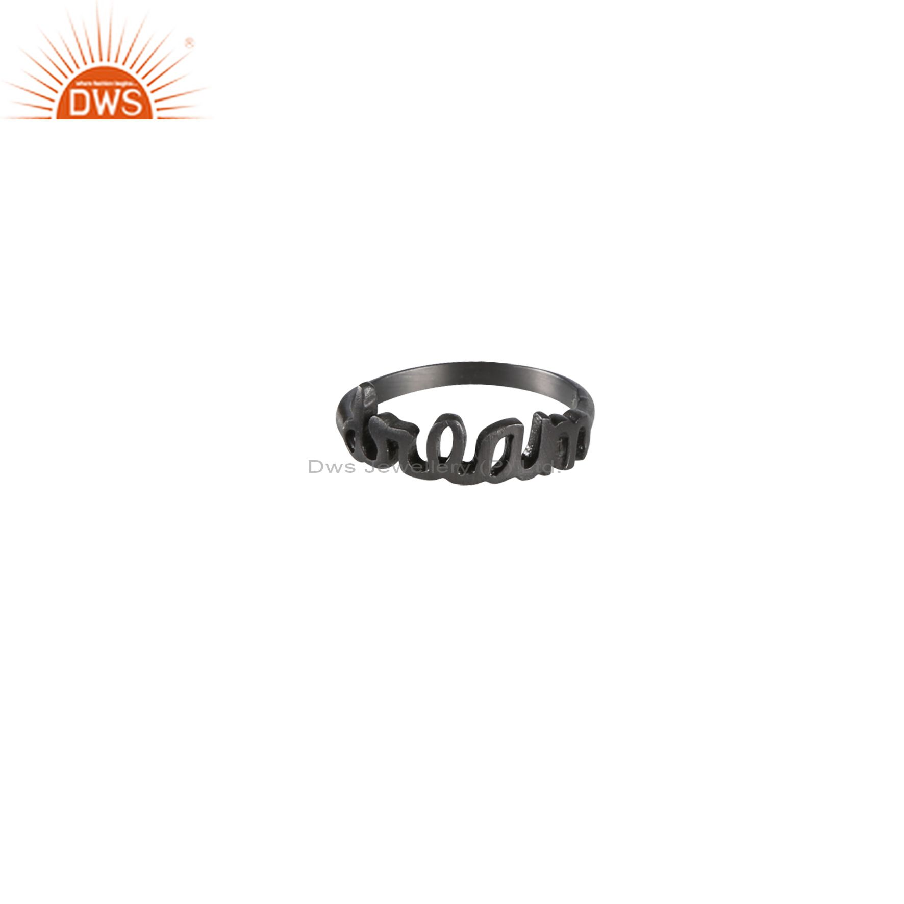 Oxidized Solid Sterling Silver Cursive Style Font Dream Ring