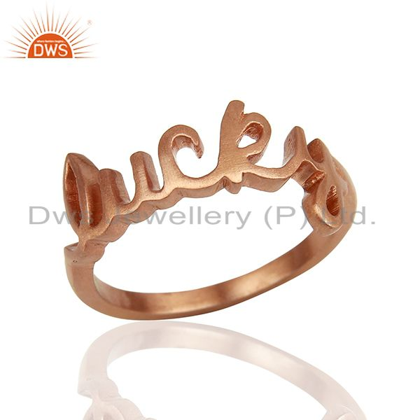 18K Rose Gold Plated Sterling Silver Cursive Style