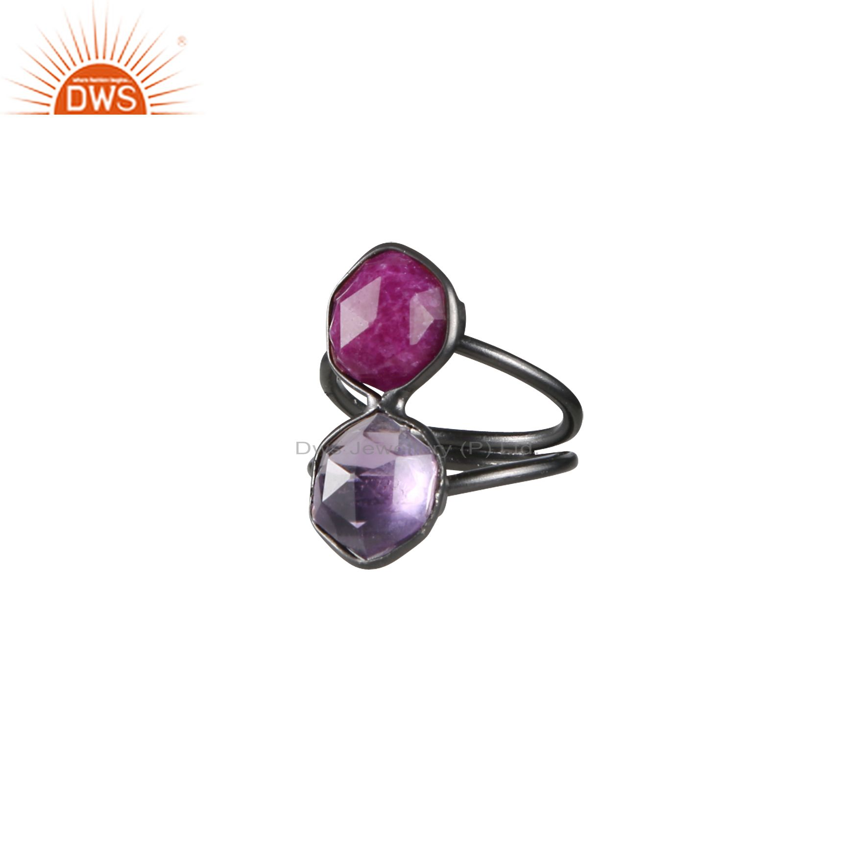 Oxidized Sterling Silver Amethyst And Dyed Ruby Split Shank Statement Ring