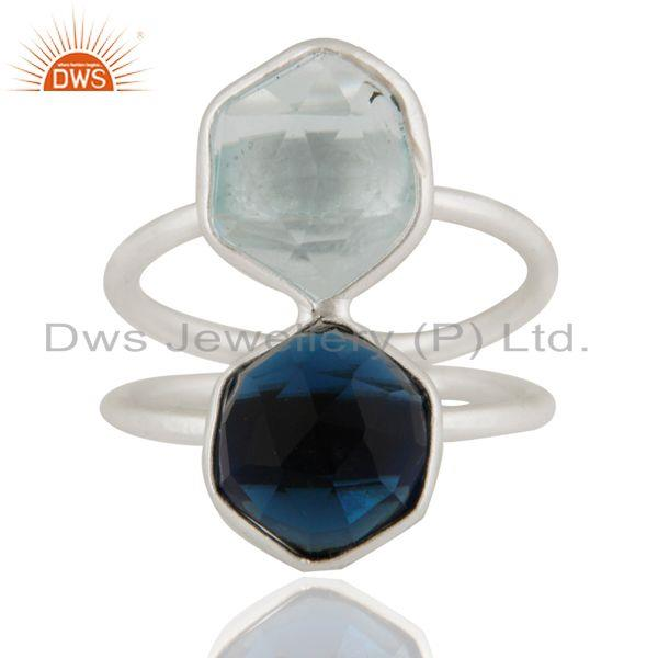 925 Sterling Silver Blue Corundum And Blue Topaz Bezel-Set Ring