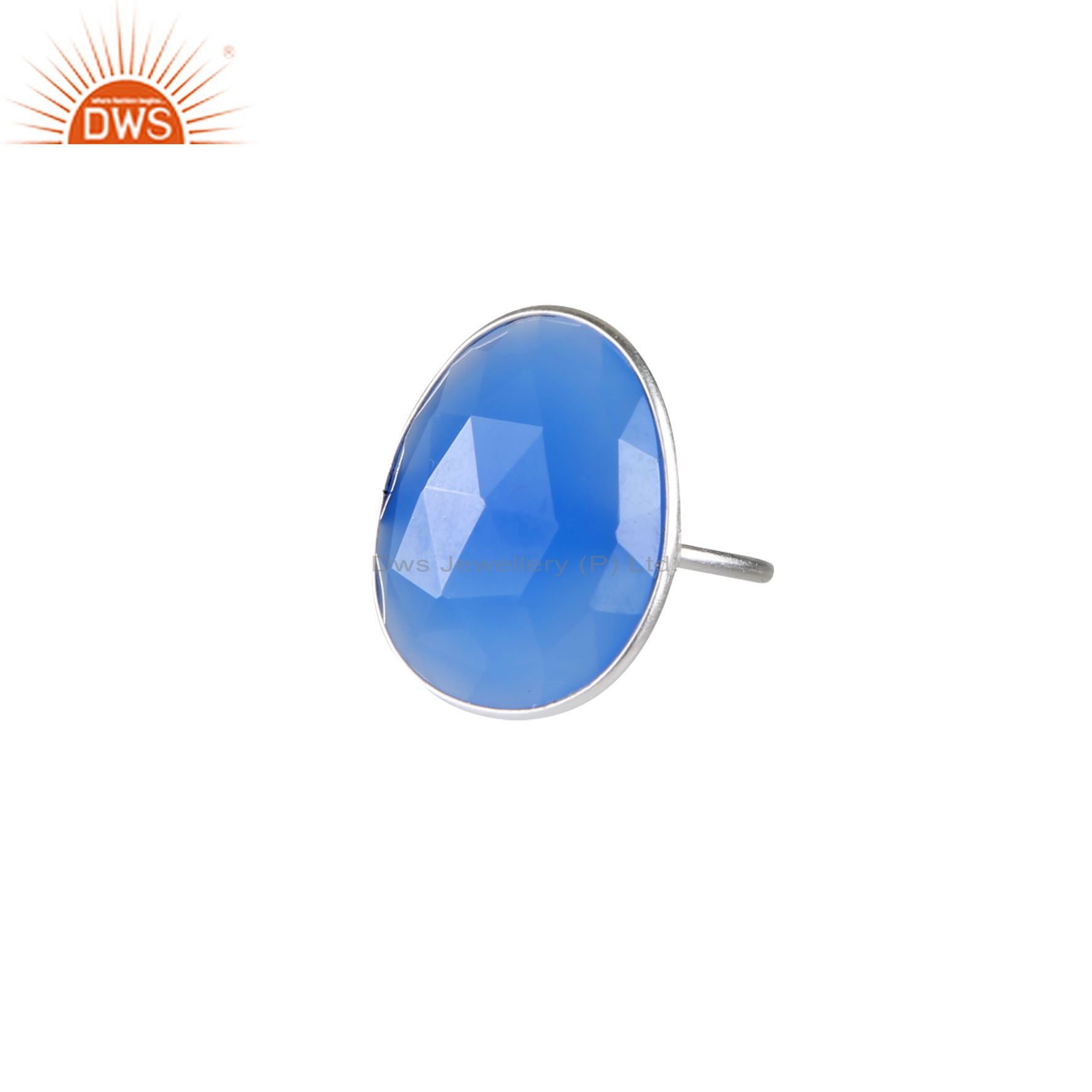 925 Sterling Silver Faceted Aqua Blue Chalcedony Bezel Set Stackable Ring