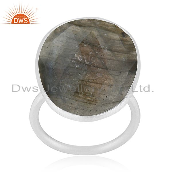 Natural Labradorite Gemstone 925 Silver Statement Ring Manufacturer