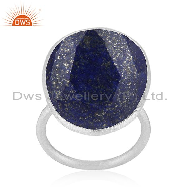 Handmade 925 Sterling Silver Lapis Lazuli Gemstone Statement Ring Wholesaler