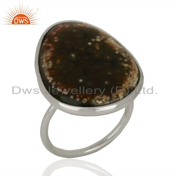 Ocean Jasper Cocktail 925 Sterling Silver Ring Gemstone Jewelry