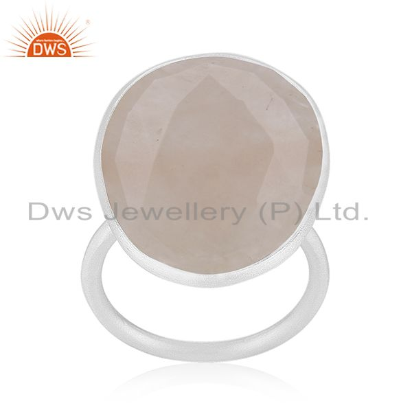 Rose Quartz Gemstone 925 Sterling Fine Silver Statement Ring Manufacturers