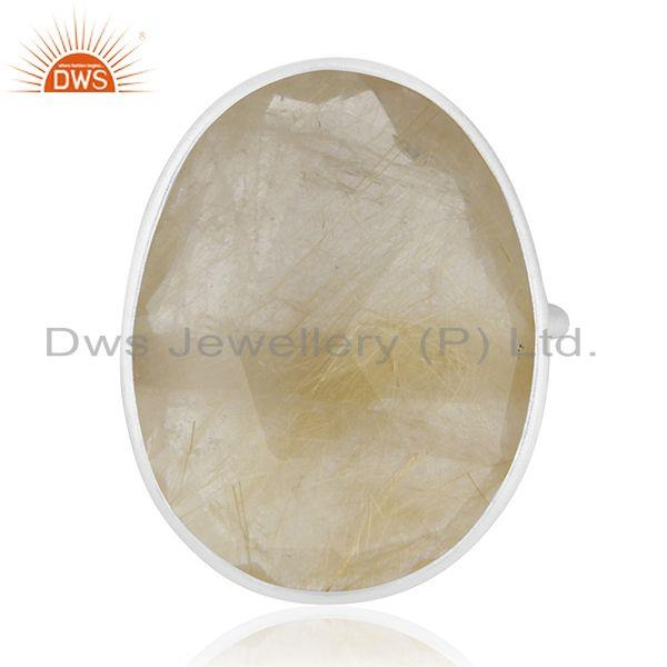 Golden Rutile Quartz Handmade 925 Sterling Fine Silver Gemstone Ring Wholesale