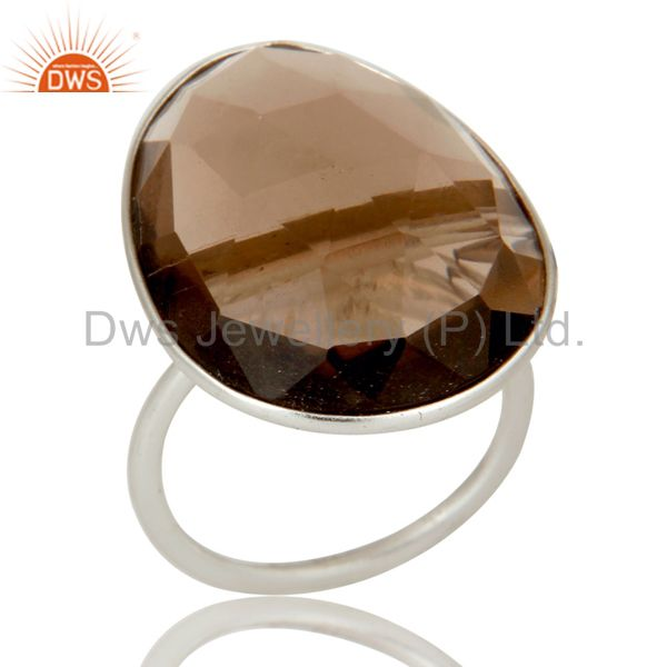 Solid Sterling Silver Smokey Quartz Bezel Set Statement Ring