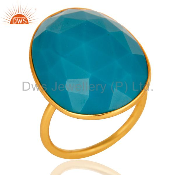 Faceted Turquoise Gemstone Bezel Set 18K Gold Plated Sterling Silver Ring